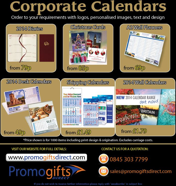 Printed Promotional 2014 Calendars - Contact us for a detailed quotation - 0845 303 7799 - sales@promogiftsdirect.com - http://www.promogiftsdirect.com/products/Diaries-and-Calendars