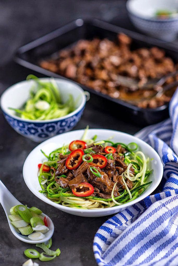Get the recipe: slow-cooker Chinese beef with zucchini noodles.                  Source: Supergolden Bakes