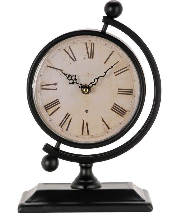 BNWT Vintage Nautical Style Black Globe Metal Mantle Clock Roman Numerals NEW