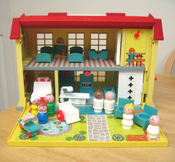 Vintage Fisher Price Hospital  Complete by toysofthepast on Etsy, $140.00