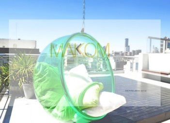 Green Bubble Chair by MAKOM DESIGN in an amazing terrace - Buenos Aires ARGENTINA
