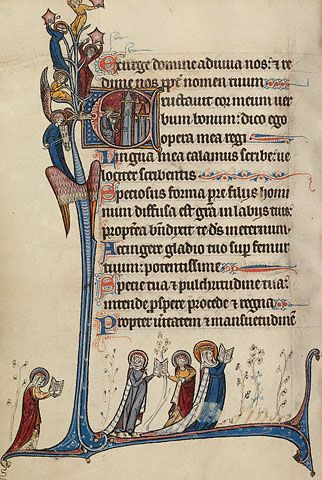 Initial E: David Playing the Harp (Getty Museum); King David sits before a city. Singing as he plays the harp, David appears not only as the author of the psalms but also as their performer. Angels clustered nearby accompany him with musical instruments.    A queen and her court of noblewomen pray from open books. The original owner of this manuscript, most likely a noblewoman, could recognize the importance of her own devotional act of reading the psalms.