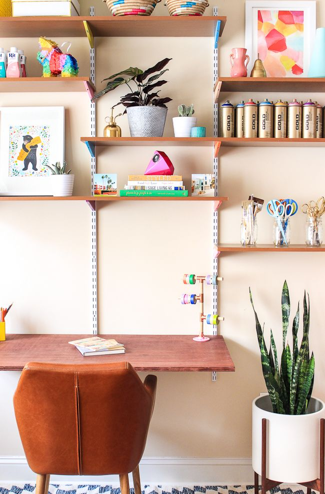 Pinned it made it loved it diy mounted wall desk for Diy wall to wall desk