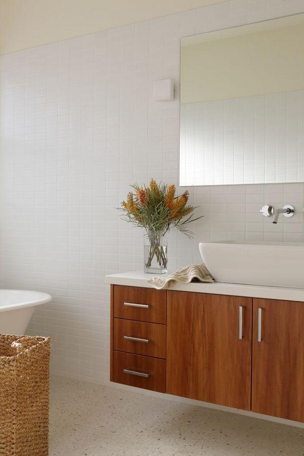 contemporary bathroom flooring ideas modern terrazzo flooring wood vanity vessel sink