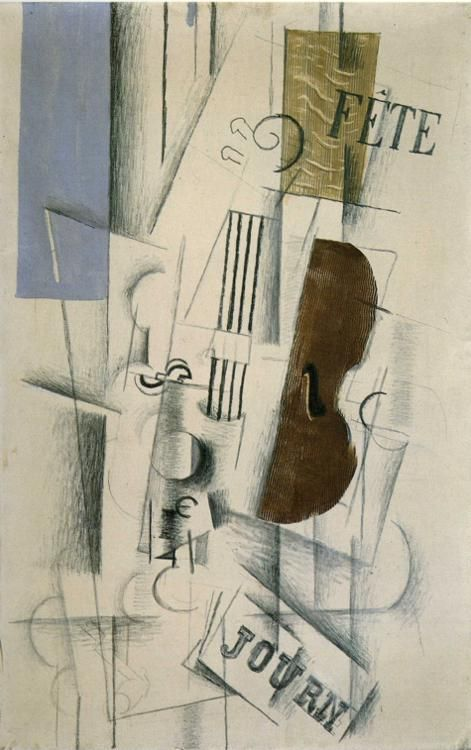 GEORGES BRAQUE. Violin and Newspaper (Musical Forms), 1912, charcoal and oil on canvas. Synthetic Cubism.