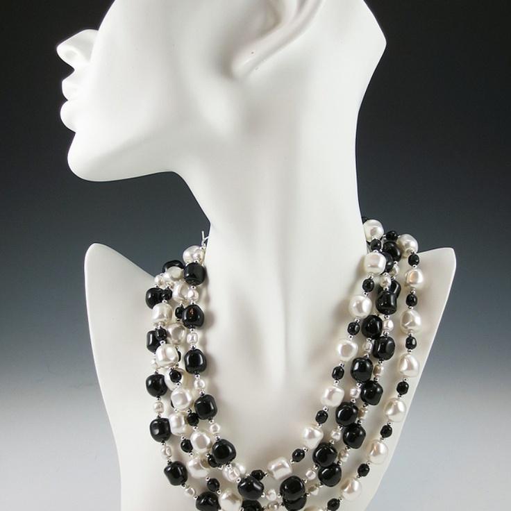 Swarovski Baroque Crystal Pearl Necklace Set - Black and White   #NMArtofFashion