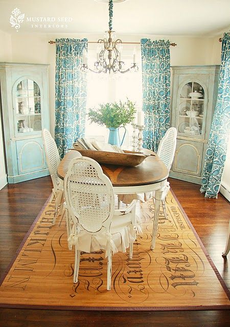 Country french shabDining Rooms, Ideas, Curtains, Modern Country, Painting Furniture, Chairs, Floors Mats, Corner Cabinets, Miss Mustard Seeds