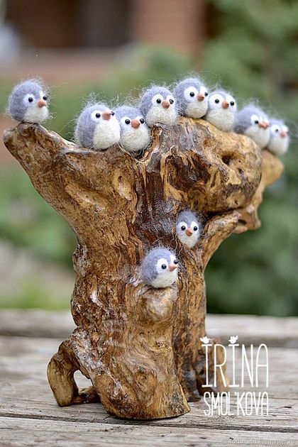 Buy or order owlets in online shops on My Livemaster. Eleven little owlets comfortably perched on driftwood. Look at the little owlets - Babies sit side by side. When not sleeping, They eat. When you eat, They don't sleep. Owlets matted wool. Glass eyes, the beak - application of self-hardening clay. Snag stripped, sanded, varnished. The size of the composition: width 27 cm, height 25 cm, depth 9 cm. Can be hung on the wall or left to stand on flat surface: table, shelf, etc.