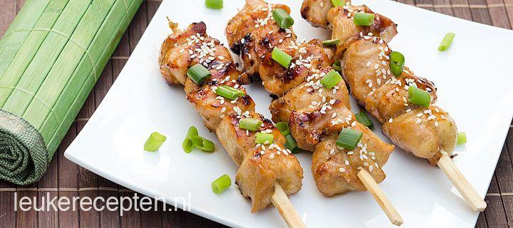 WALKING DINNER: indische kipspiesjes van de-BBQ, frisse zoete marinade met pittige bite