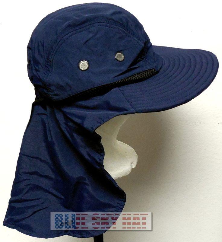 BLUE WALKING CAMPING HIKING OUTDOOR SUN CAP HAT FLAP NECK EAR PROTECTION UPF 50+ #PremiumHikingHat