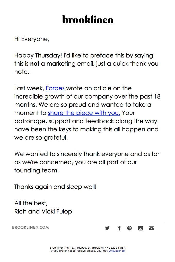 Customer appreciation email from Brooklinen
