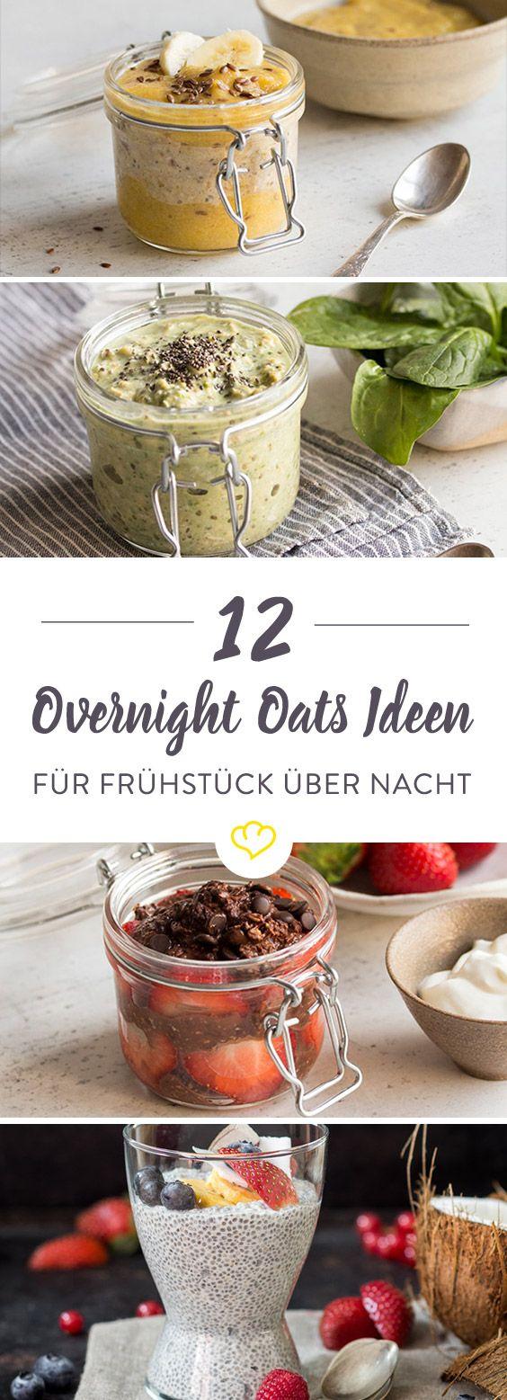 Wenn es mal wieder schnell gehen muss, sind Overnight Oats genau das Richtige. 12 einfache Rezepte, die du schon am Abend vorher zubereiten kannst.