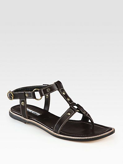 Manolo Blahnik - Grava Leather Gladiator Sandals - Saks.com