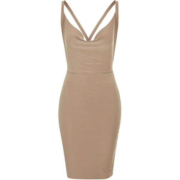 **Cowl Neck Slinky Mini Dress by Rare (939355 BYR) ❤ liked on Polyvore featuring dresses, vestidos, short dress, camel, camel dress, beige short dress, short dresses, body con dress and rare london