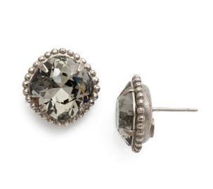 Sorrelli Cushion-Cut Solitaire Earring in Antique Silver-Tone Finish