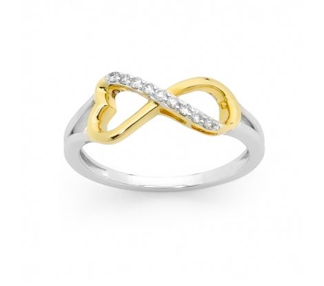 A symbol of eternal love, this infinity ring features diamonds set in 9ct white and yellow gold