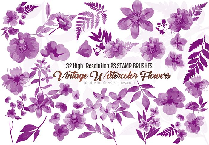 32 Vintage Watercolor Flower Brushes For Photoshop In 2020