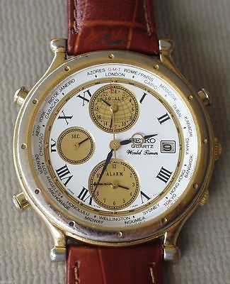 Rare Vintage Seiko World Timer Age Of Discovery  Vintage 5T52-7A19