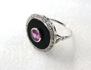 Pink Sapphire Diamond Black Onyx Ring