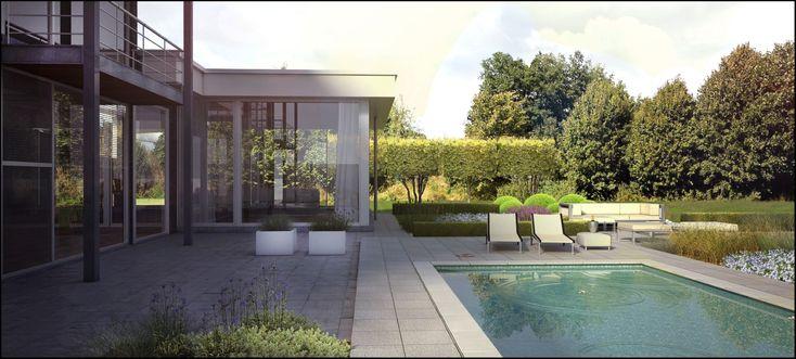Een moderne tuin waar je heerlijk in kan relaxen.