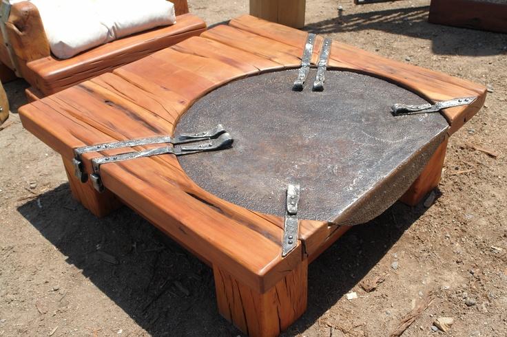 Mesa de centro de roble r stico con plato de fierro - Mesas centro rusticas ...
