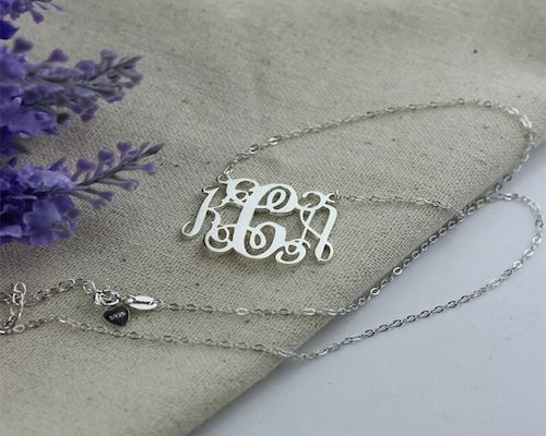 Personalized Monogrammed Necklace Sterling Silver