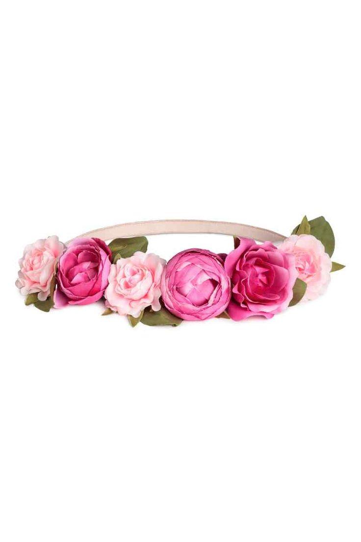 Fascia per capelli con fiori - Rosa/ciliegia - DONNA | H&M IT 1