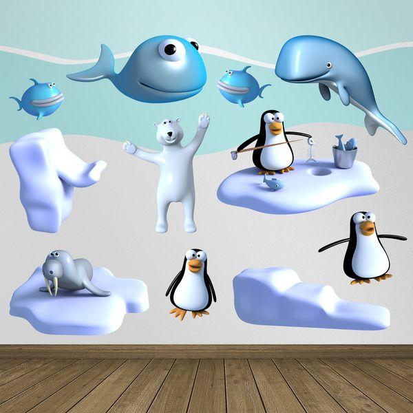 Polo sud - Adesivi per bambini. Adesivi murali bambini a kit polo. #adesivimurali #decorazione #modelli #mosaico #oso #pingüino #balena #hielo #StickersMurali