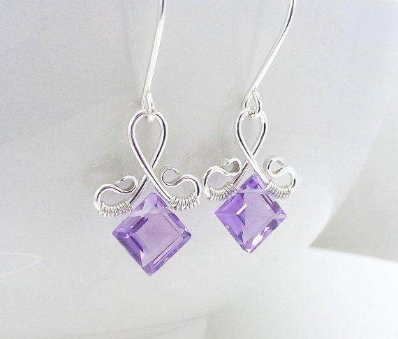 Small amethyst earrings Handmade sterling by CreativityJewellery