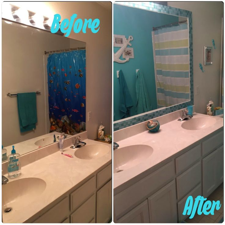 This low budget bathroom makeover adds a touch of fun and character to a previously boring builder grade bathroom. Add a unique tile mirror without grout.