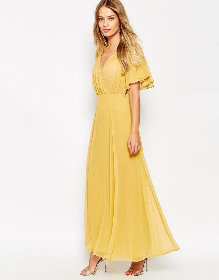 Yellow gold maxi dress with flutter sleeves | Dresses for Wedding Guests