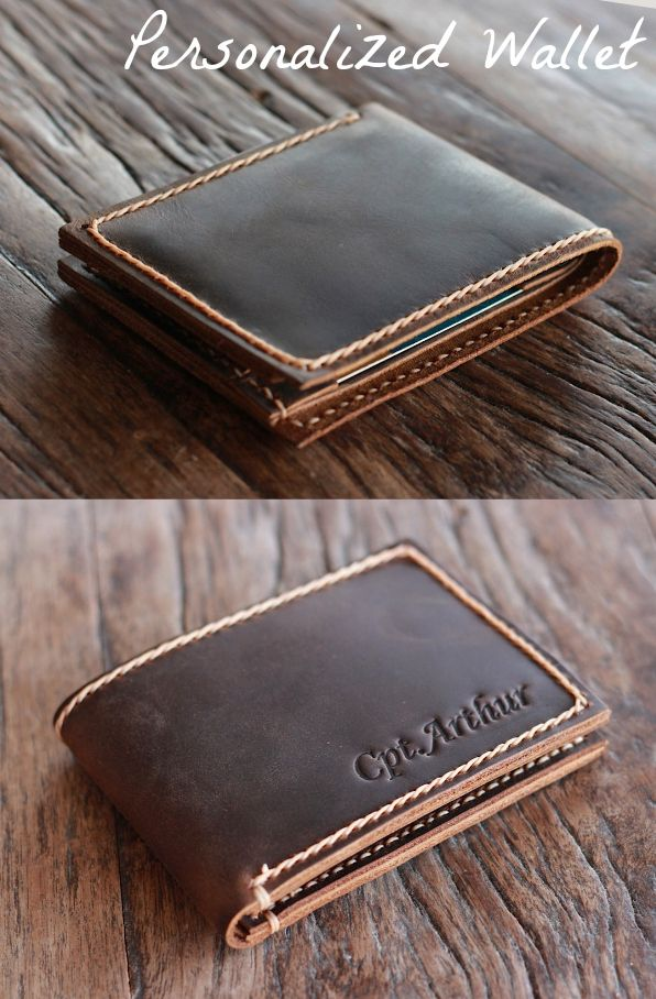 Personalize your own wallet or for your groomsmen gift.  Maybe for a birthday gift for Dad, or a Valentine present for Him.  Handmade Leather wallet from JooJoobs crafted with love for you.
