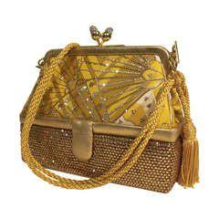 80s Judith Leiber Gold Box Bag with Oriental Fan Motif