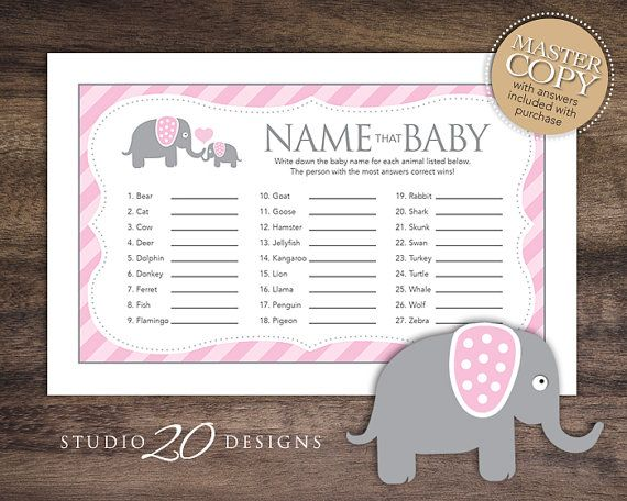 Instant Download, Pink Elephant Baby Shower Games for Girl, Name That Baby Game, Printable Baby Animal Game Sheets, Pink Grey 22B on Etsy, $1.50