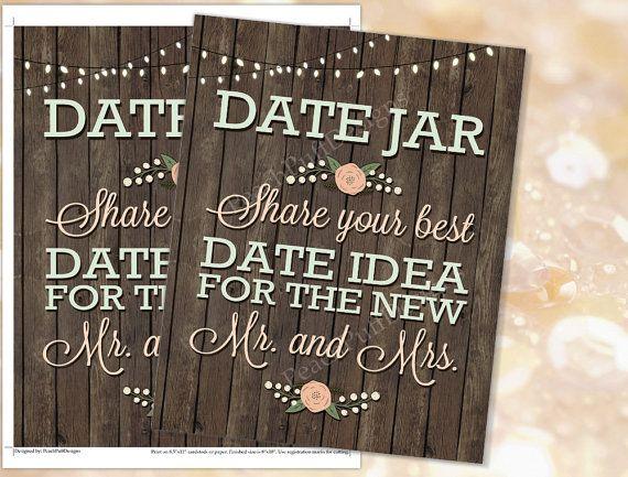 Date jar sign 8x10 plus Date night cards by PeachPuffDesigns