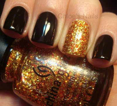 Chloe's Nails: Chloe Nails, Chloe S, Red Black And Gold Nails, Red Glitter, Black Nails, Glitter Nails, Black Gold, Holidays Nails, Halloween Nails