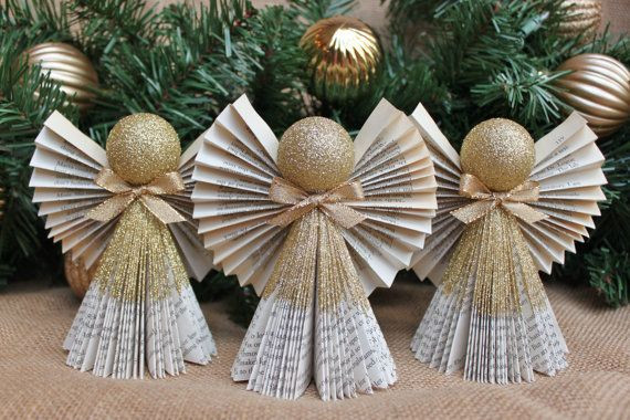 Angel Ornament, Christmas Ornament, Book Angel Ornaments, Set of 3 in Gold, MADE TO ORDER