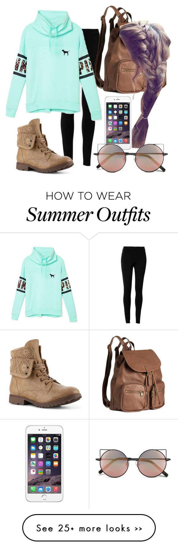 """@vintage121 outfit"" by cutieunicorn on Polyvore featuring Max Studio, Victoria's Secret PINK, H&M, Linda Farrow and vintage"