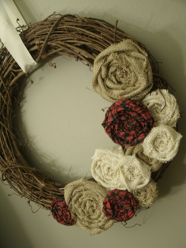 Burlap Grapevine Wreath.... Was just given a grapevine vine wreath! I will be trying this