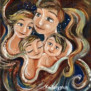 Wherever I Go - mother with 3 children print by Katie m. Berggren