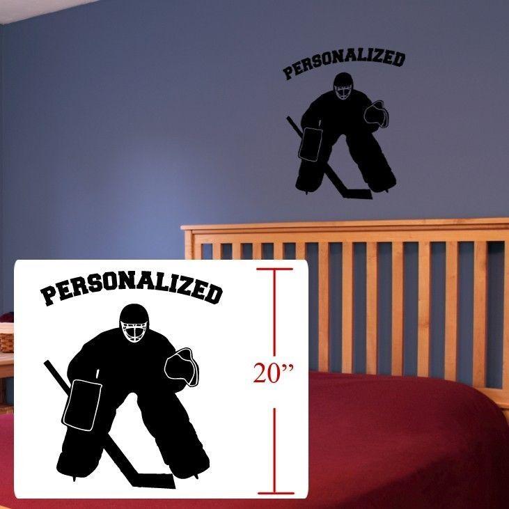 Hockey+Wall+Art+,Hockey+player+personalized,Hockey+Wall+decal+Silhouettes+player+#Oracal+#Modern