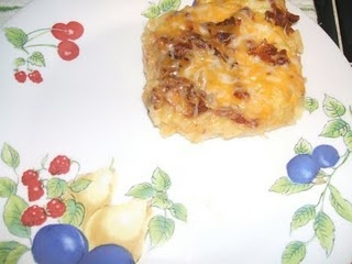 Bacon & Egg Hashbrown Casserole--I didn't use crescent rolls, used a bag of simply potatoes hashbrown, and I did add some sautéed onions.  Delicious!!