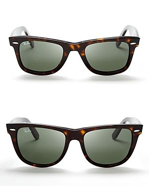 Tortoise shell frames w/ greenish tint lenses. Those will be my first pair one day // Ray Ban Wayfarer sunglasses