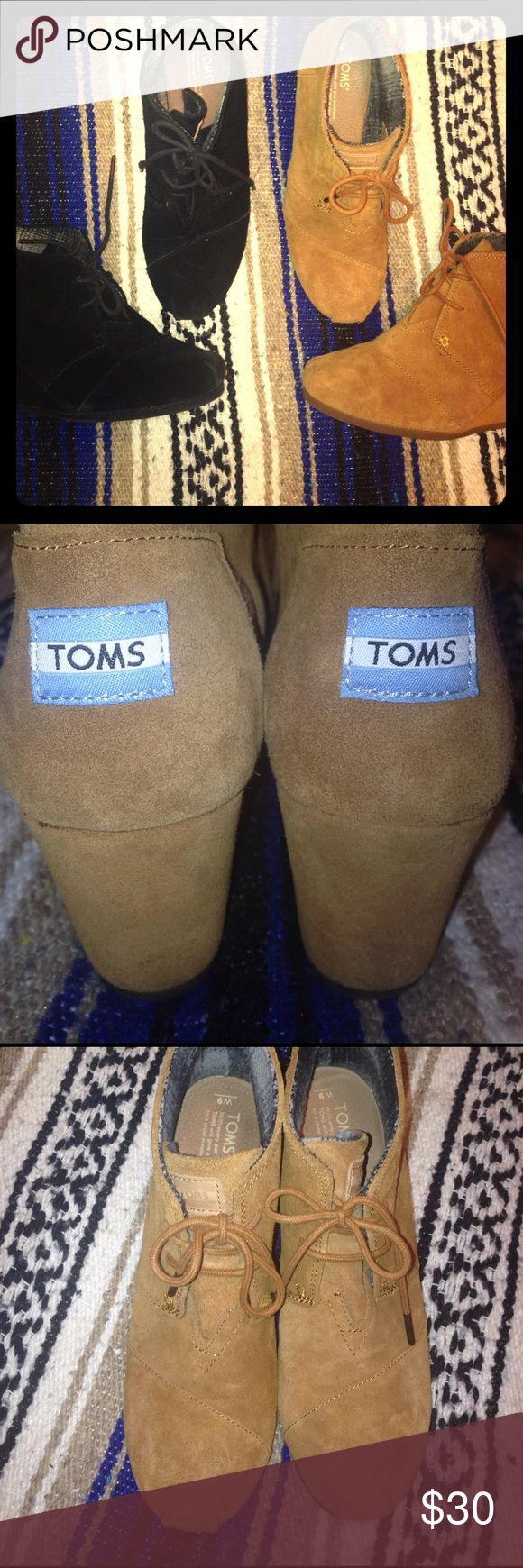 Toms wedge booties I have a black pair and a pair in camel. They are a suede-like material and in great condition, the brown ones only being worn twice. They are so comfy and definitely can be worn for long periods of time! TOMS Shoes Ankle Boots & Booties