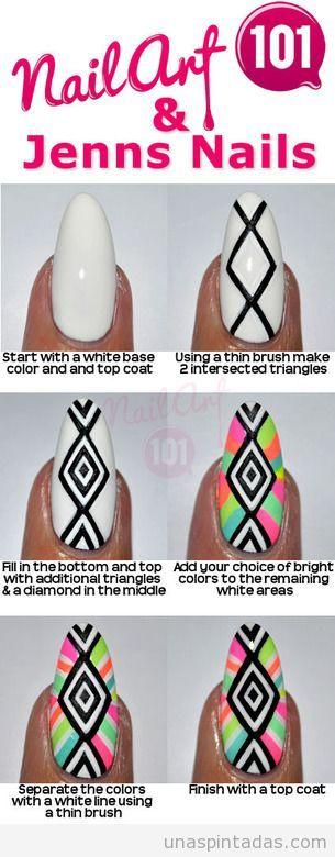 Tutorial paso a paso, decoración de uñas tribal y colores