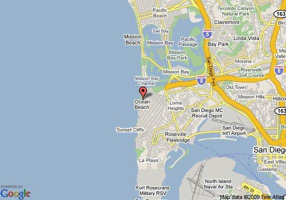 ocean beach san diego | Map of Ocean Beach Hotel, San Diego