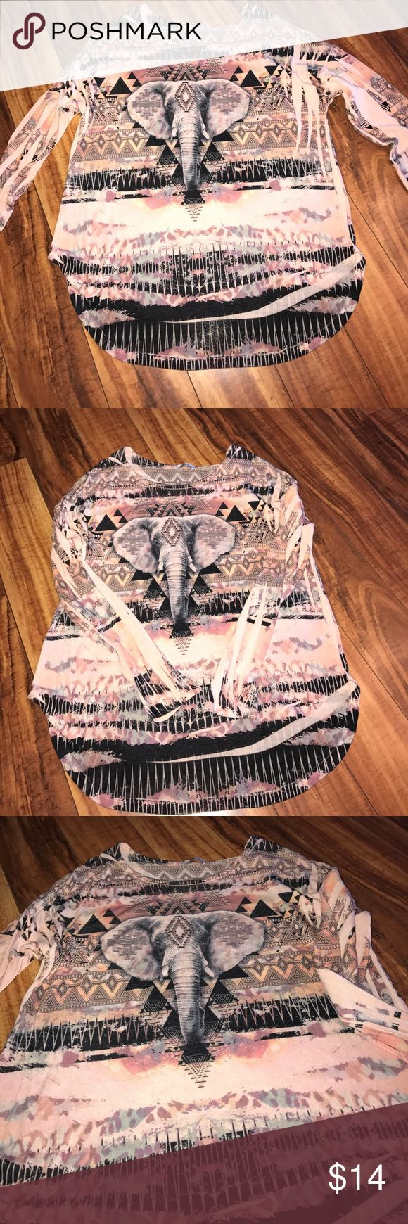 Boho elephant hi-lo long sleeve top In perfect condition, Beautiful colors almost a watercolor effect, hippy Aztec  elephant print. Size not listed on the tag but would say medium is very stretchy. teenbell Tops