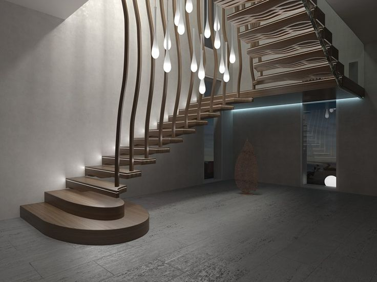 Solid wood cantilevered staircase WAVE by Siller Treppen design Siller Stairs