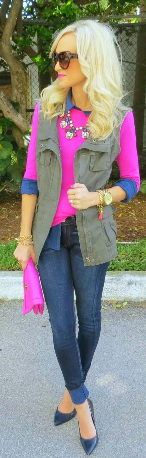 Recreate with my green embellished sweater, chambray top, and pink skirt