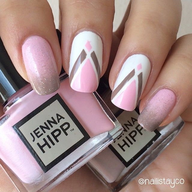 Pink, brown and white nails
